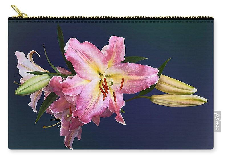 Lily Carry-all Pouch featuring the photograph Lovely Pink Lilies by Susan Savad