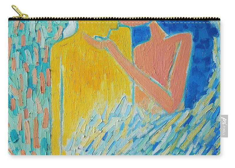 Oil Carry-all Pouch featuring the painting Loving An Angel by Ana Maria Edulescu