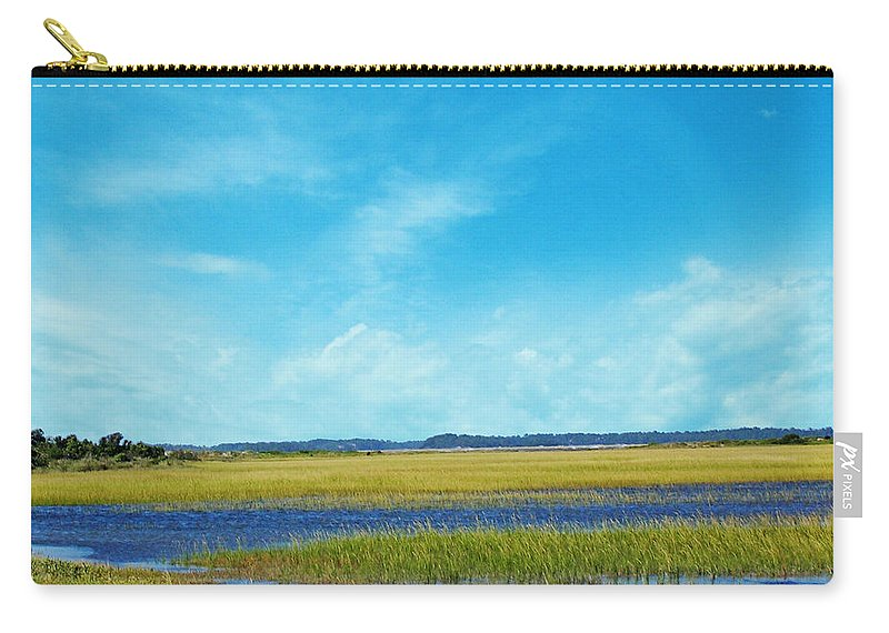 South Carolina Carry-all Pouch featuring the digital art Low Country Marsh by Lizi Beard-Ward