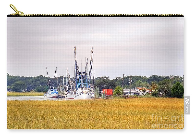 Low Carry-all Pouch featuring the Low County Marsh View Shrimp Boats by Scott Hansen