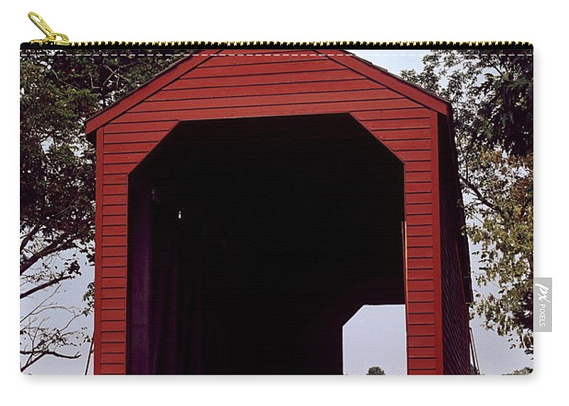 Loy's Station Covered Bridge Carry-all Pouch featuring the photograph Loy's Station Covered Bridge by Sally Weigand