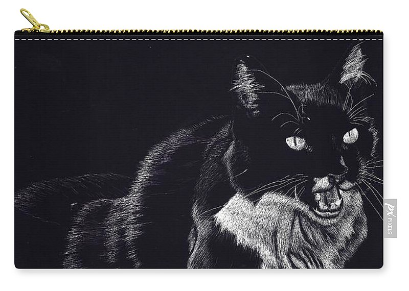 Cat Carry-all Pouch featuring the drawing Lucy The Cat by Yenni Harrison