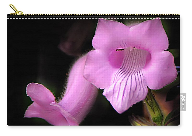 Bible Verse Flowers Carry-all Pouch featuring the photograph Luke 7 35 Pink Penstemon Flower by Randall Branham