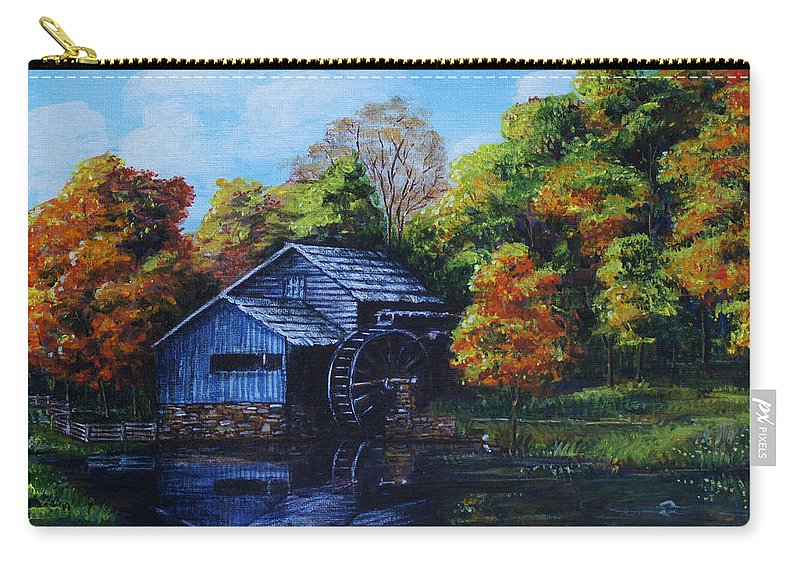 Autumn Carry-all Pouch featuring the painting Mabry Mill In Autumn by Shirley Heyn