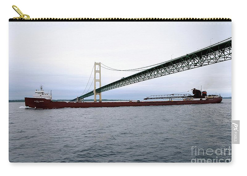 Ship Carry-all Pouch featuring the photograph Mackinac Bridge With Ship by Ronald Grogan
