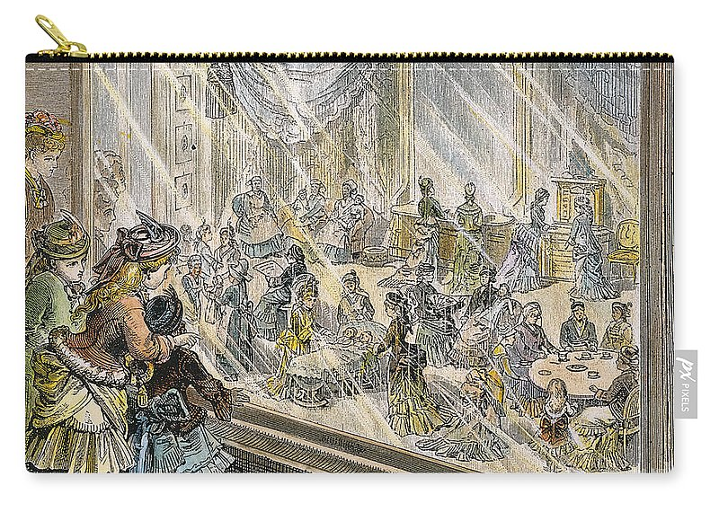 1876 Carry-all Pouch featuring the photograph Macys Holiday Display, 1876 by Granger