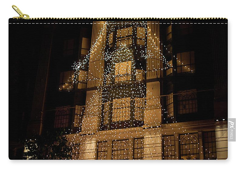 New York City Carry-all Pouch featuring the photograph Macy's Ny Christmas Lights by Lorraine Devon Wilke