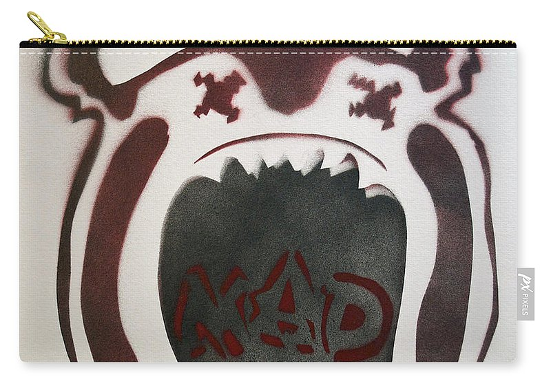 Tillie Of Asbury Park Carry-all Pouch featuring the painting Mad O Rama Dark Red by Patricia Arroyo