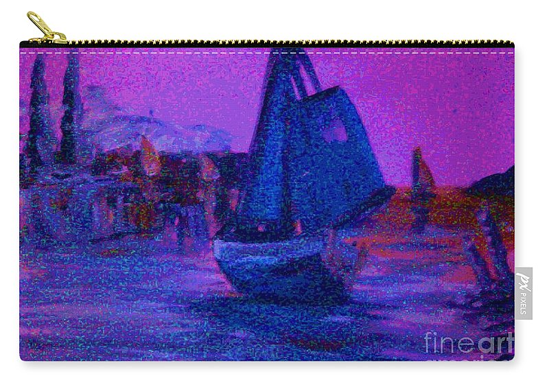Boat Carry-all Pouch featuring the painting Magic Voyage by George Pedro