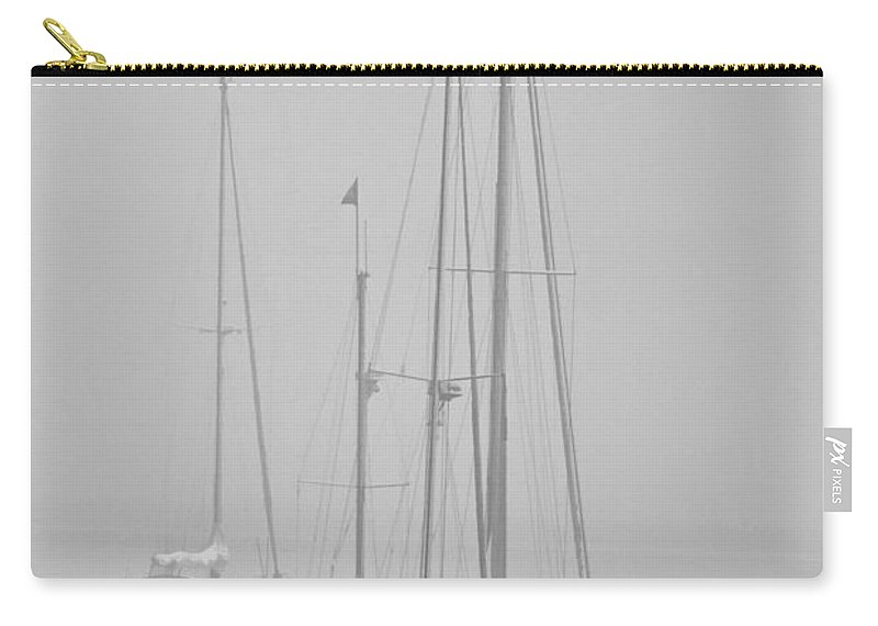 Art Carry-all Pouch featuring the photograph Maine Sailboats On A Foggy Morning by Randall Nyhof