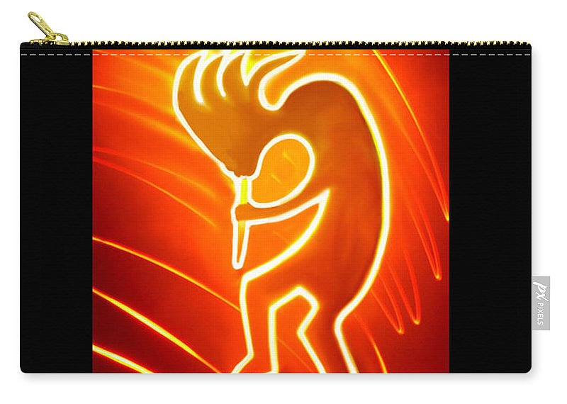 Light Art Carry-all Pouch featuring the mixed media Male Kokopelli by Mark Bell