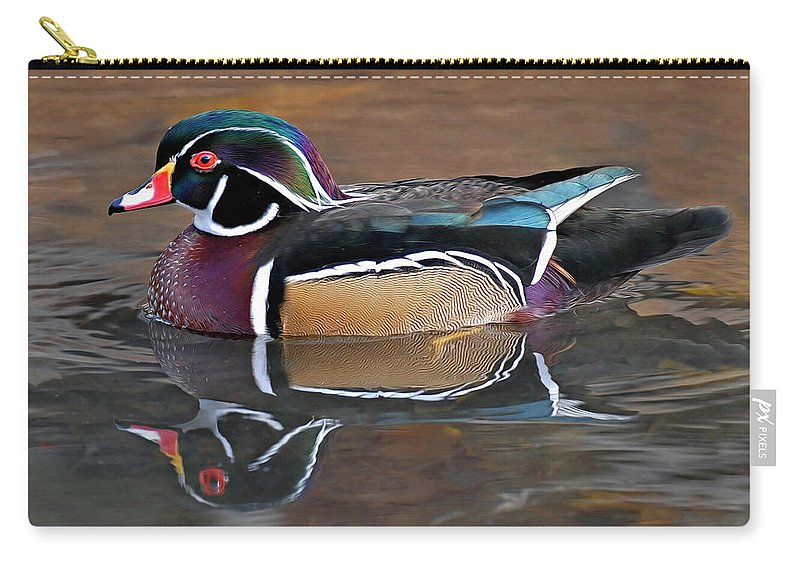 Wood Duck Carry-all Pouch featuring the photograph Male Wood Duck by Dave Mills