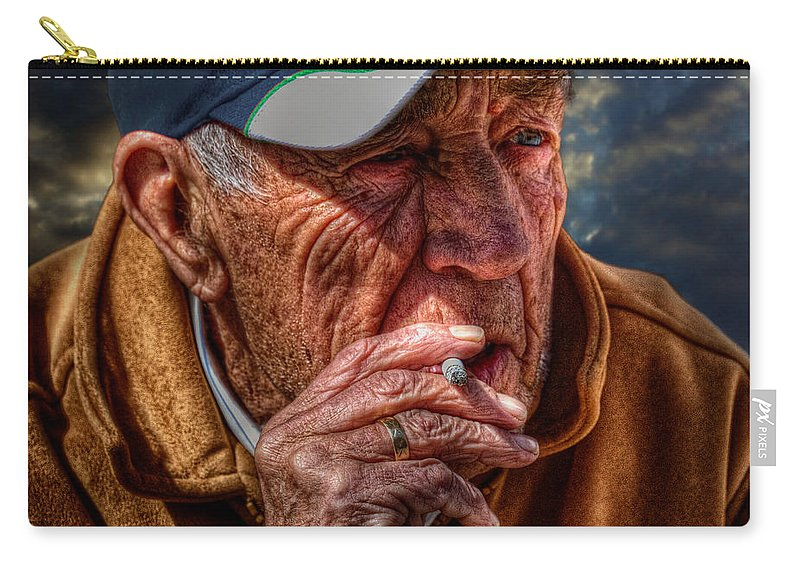 Acrylic Prints Carry-all Pouch featuring the photograph Man Smoking by John Herzog
