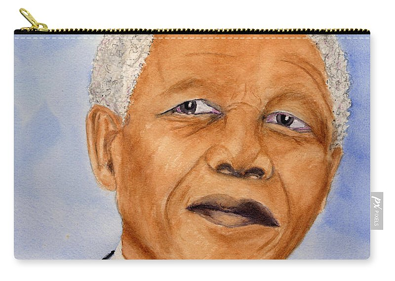 Carry-all Pouch featuring the painting Mandela by Mohamed Hirji