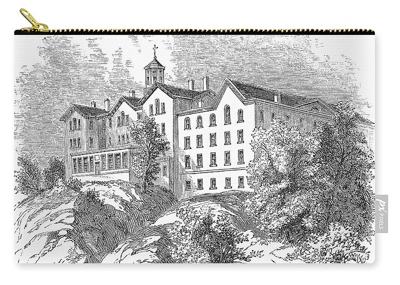 1868 Carry-all Pouch featuring the photograph Manhattan College, 1868 by Granger