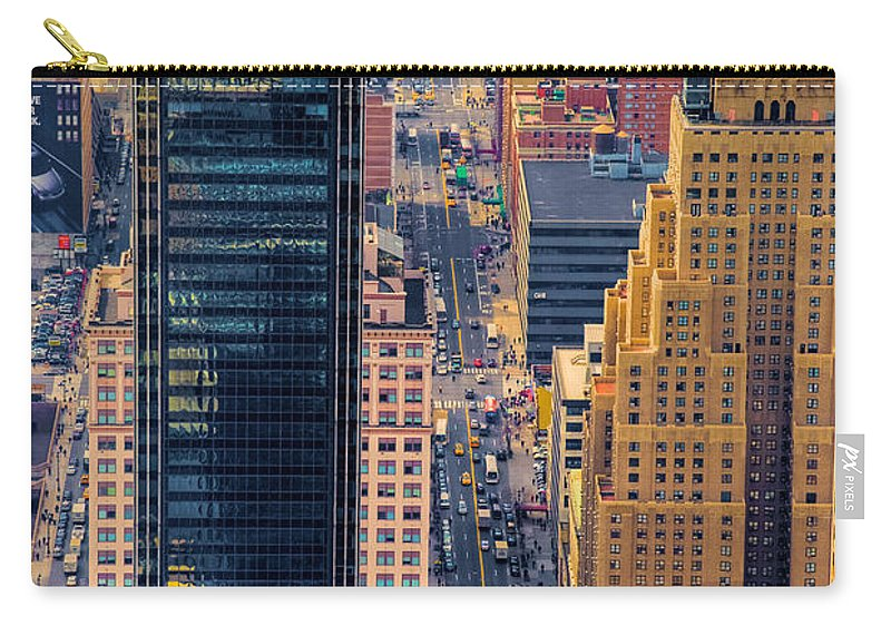 Nyc Carry-all Pouch featuring the photograph Manhattan Streets From Above by Mark Dodd