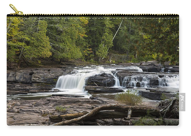 Manido Carry-all Pouch featuring the photograph Manido Falls 1 by John Brueske