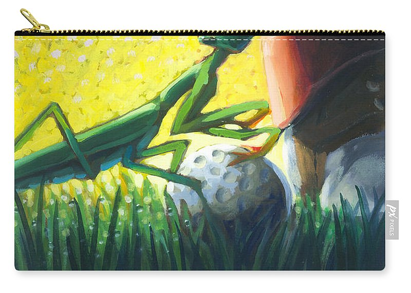 Golf Carry-all Pouch featuring the painting All Players Great And Small - Mantis by Len Ross