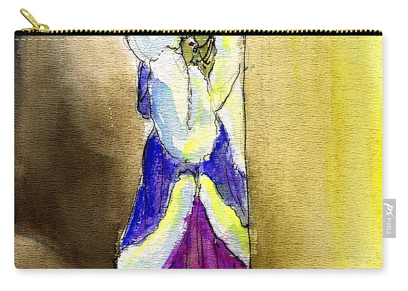 Nostalgia Carry-all Pouch featuring the drawing Marion Davies In Fur by Mel Thompson