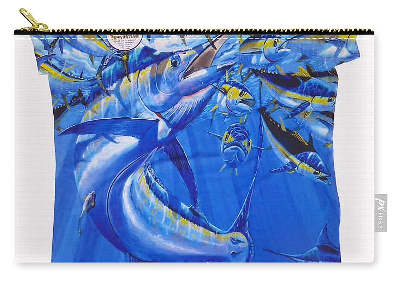 Carey Chen Carry-all Pouch featuring the digital art Marlin Ladies Shirt by Carey Chen