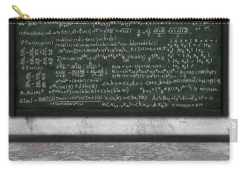 Algebra Carry-all Pouch featuring the photograph Maths Formula On Chalkboard by Setsiri Silapasuwanchai