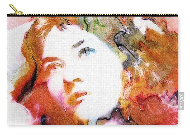 Abstract Painting Portrait Expressionism Impressionism Face Female Beauty Silent Film Movie Actress Woman Girl Color Colorful Vintage Maude Fealy Digital Art Carry-all Pouch featuring the digital art Maude Fealy 2 by Steve K