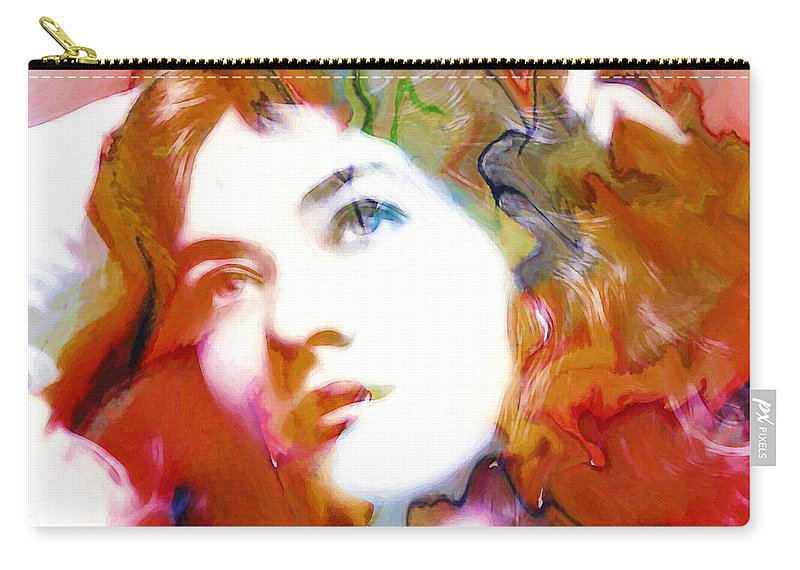 Abstract Painting Portrait Expressionism Impressionism Face Female Beauty Silent Film Movie Actress Woman Girl Color Colorful Vintage Maude Fealy Carry-all Pouch featuring the painting Maude Fealy by Steve K