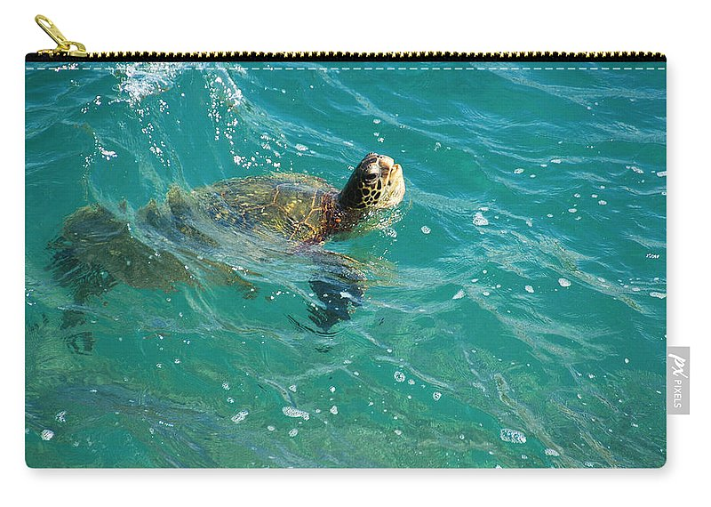 Turtle Carry-all Pouch featuring the photograph Maui Sea Turtle by Lynn Bauer