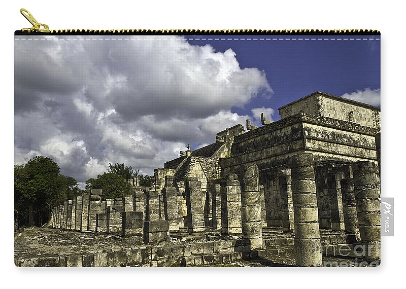 Chichen Itza Carry-all Pouch featuring the photograph Mayan Colonnade by Ken Frischkorn
