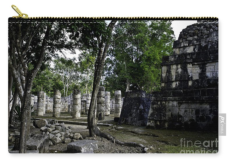 Chichen Itza Carry-all Pouch featuring the photograph Mayan Colonnade Two by Ken Frischkorn