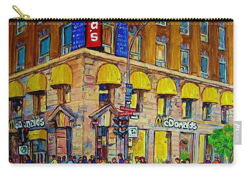 Mcdonald Restaurant Montreal Carry-all Pouch featuring the painting Mcdonald by Carole Spandau