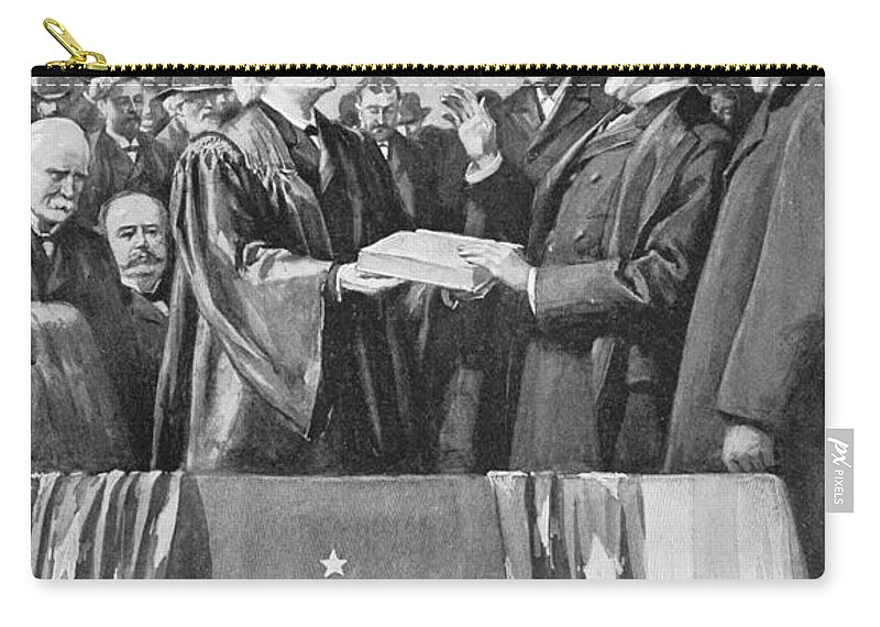 1897 Carry-all Pouch featuring the photograph Mckinley Taking Oath, 1897 by Granger