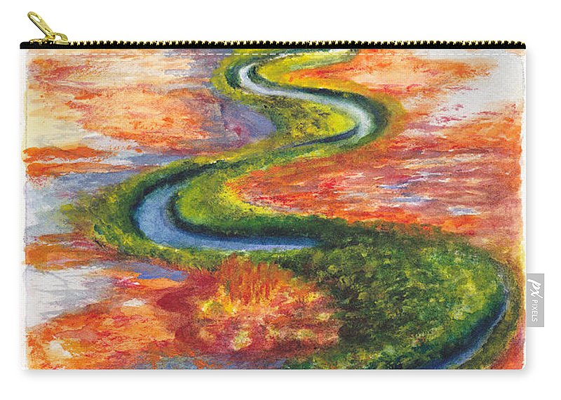 River Carry-all Pouch featuring the painting Meandering River In Northern Australian Channel Country by Dai Wynn