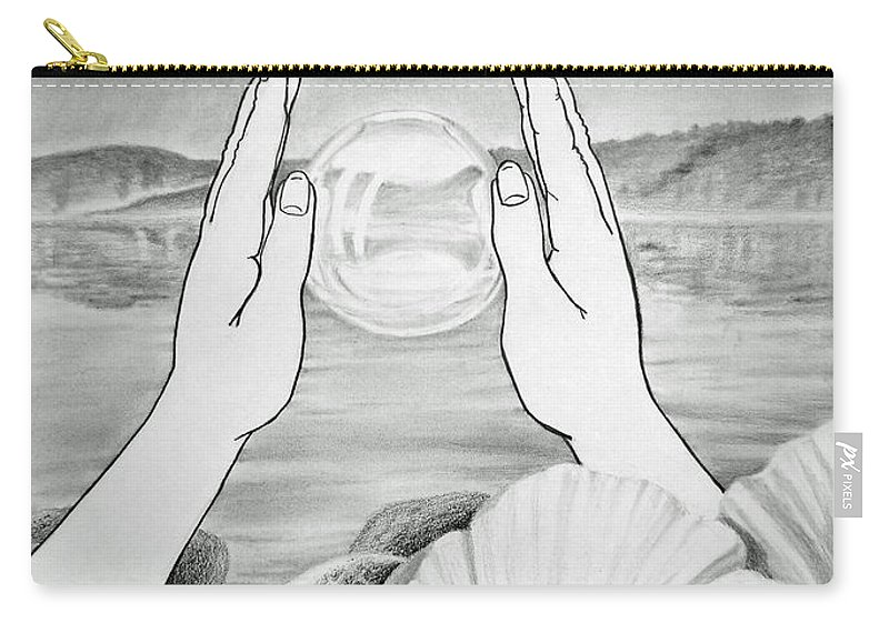 Glass Carry-all Pouch featuring the drawing Meditation by Irina Sztukowski