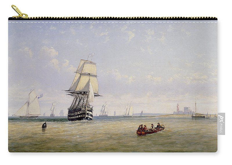 Yacht; Boats; Ships Carry-all Pouch featuring the painting Meno War Schooners And Royal Navy Yachts by Claude T Stanfield Moore