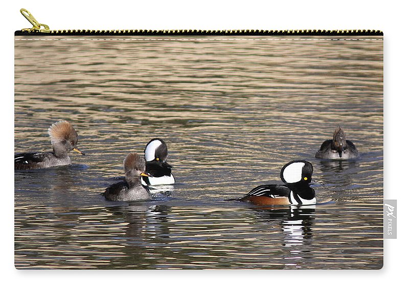 Hooded Merganser Carry-all Pouch featuring the photograph Mergansers Making Waves by Travis Truelove