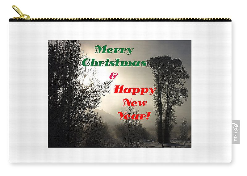 Christmas Cards Carry-all Pouch featuring the photograph Merry Christmas And Happy New Year 2 by DeeLon Merritt