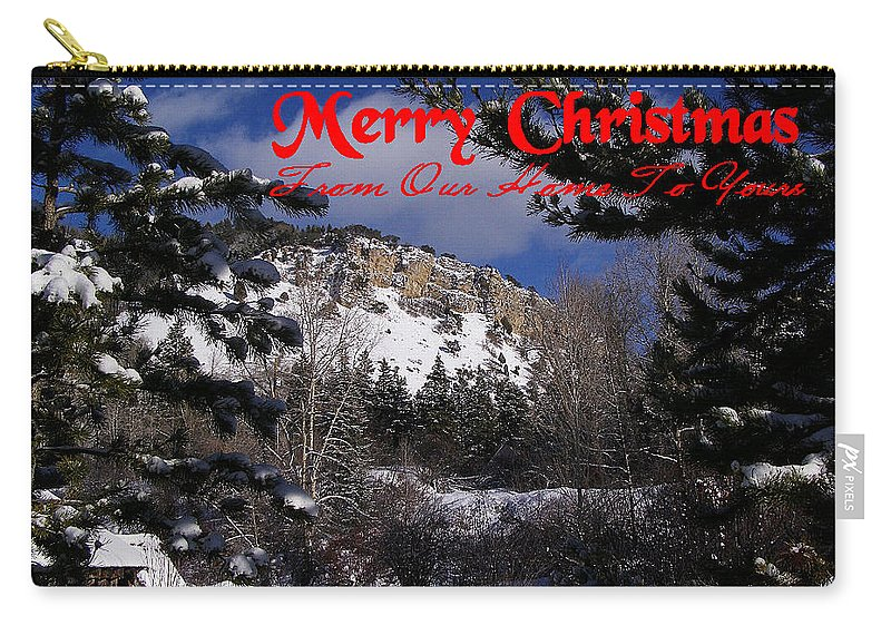 Christmas Cards Carry-all Pouch featuring the photograph Merry Christmas From Our Home To Yours by DeeLon Merritt