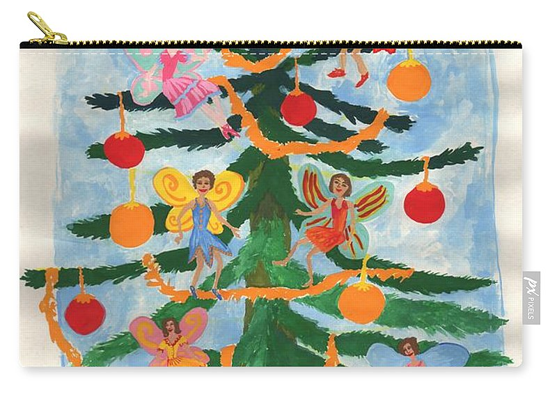 Fairy Carry-all Pouch featuring the painting Merry Christmas Tree Fairies In Progress by Sushila Burgess