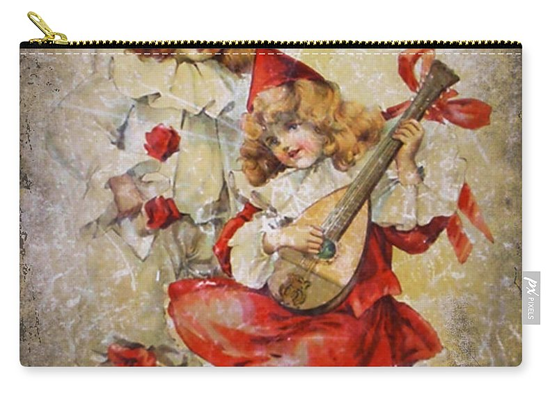 Girls Carry-all Pouch featuring the photograph Merry Making Antique Girls In Red And White Grunge by Kathy Clark