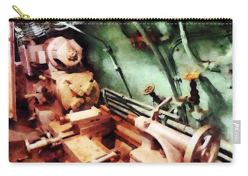 Lathe Carry-all Pouch featuring the photograph Metal Lathe In Submarine by Susan Savad