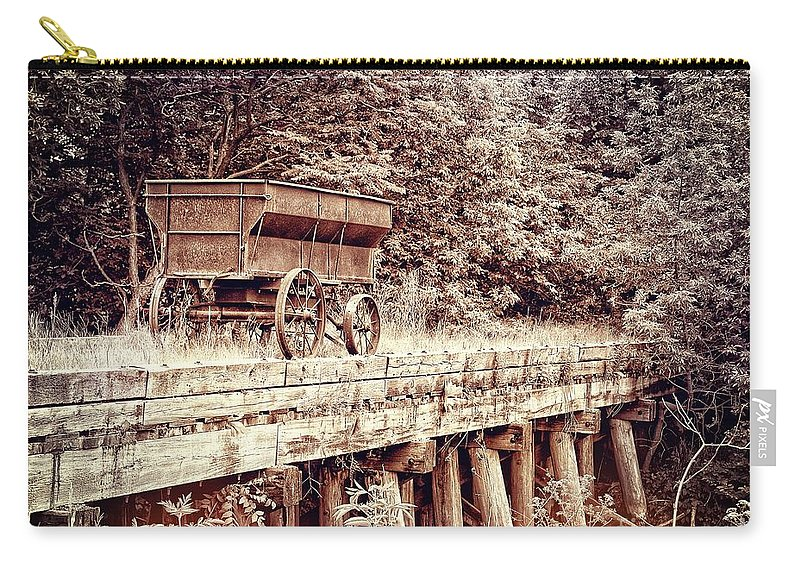 Wagon Carry-all Pouch featuring the photograph Metal Wagon On The Trestle by Sharlotte Hughes