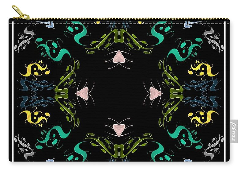 Metallics Carry-all Pouch featuring the digital art Metallic Flourishes Warp by Rose Santuci-Sofranko