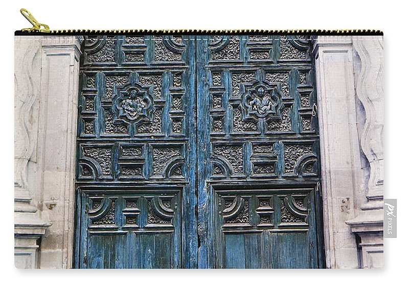 Mesoamerica Carry-all Pouch featuring the photograph Mexican Door 6 by Xueling Zou