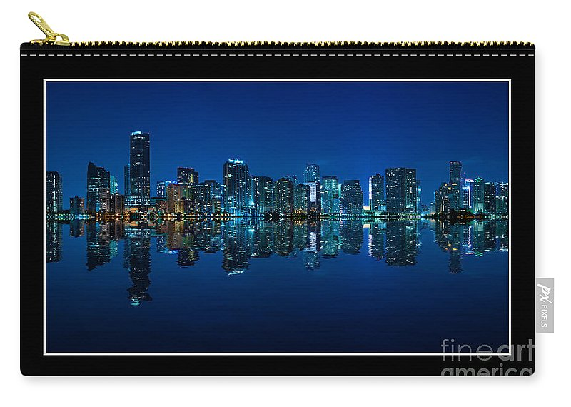 Bay Carry-all Pouch featuring the photograph Miami Skyline Night Panorama by Carsten Reisinger