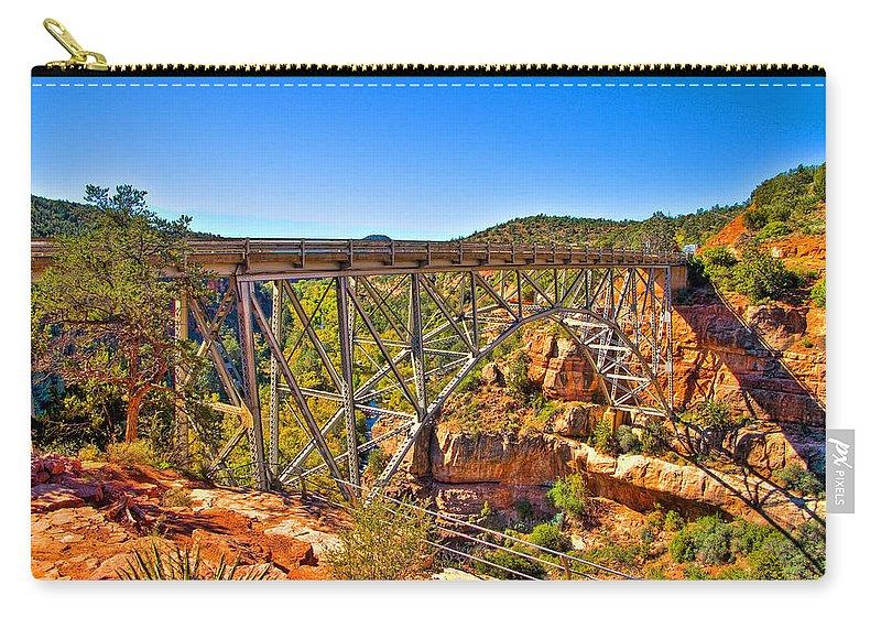 Midgley Bridge Sedona Arizona Carry-all Pouch featuring the photograph Midgley Bridge Sedona Arizona by Jon Berghoff