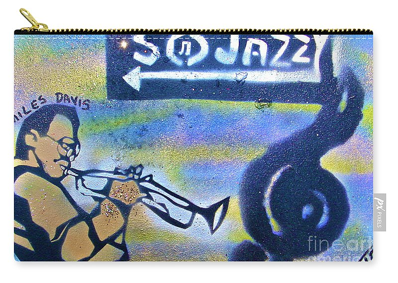 Jazz Carry-all Pouch featuring the painting Miles Of Jazz by Tony B Conscious