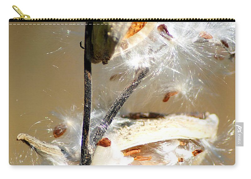 Cotton And Seeds From The Milk Weed Plant Carry-all Pouch featuring the photograph Milkweed Explosion by Optical Playground By MP Ray