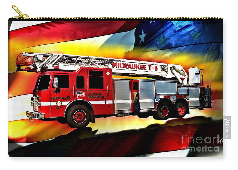 Fire Truck Carry-all Pouch featuring the digital art Milwaukee Truck 6 by Tommy Anderson