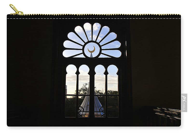 Fine Art Photography Of One Of The University Of Tampa's Famous Minarets Seen Through A Beautuful Window Built In 1880 Carry-all Pouch featuring the photograph Minaret Through Window by David Lee Thompson